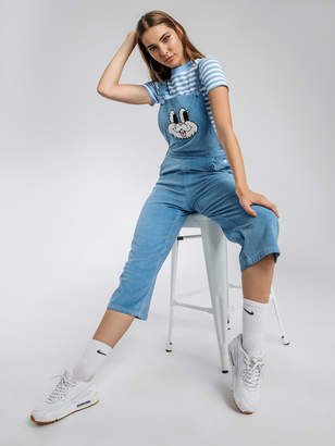 Lazy Oaf Bunny Overalls in Blue Corduroy