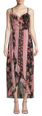 Kensie Printed Ruffle-Trim Chiffon Midi Dress