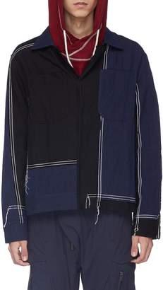 Indice Studio Contrast topstitching colourblock twill shirt jacket