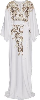 Oscar de la Renta - Metallic Appliquéd Silk Crepe De Chine Gown - Ivory $2,990 thestylecure.com