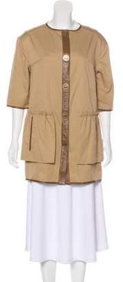 Tibi Leather-Trimmed Short Sleeve Coat