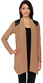 Joan Rivers Classics Collection Joan Rivers Open Front Cardigan w/ Faux LeatherShoulder Detail