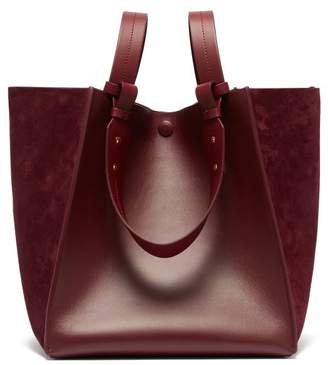 Sophie Hulme Cube Leather And Suede Tote Bag - Womens - Burgundy