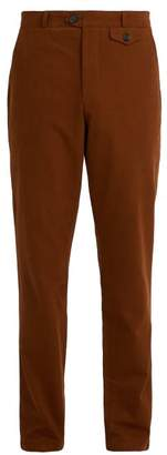 Oliver Spencer Fishtail Cotton Blend Trousers - Mens - Brown