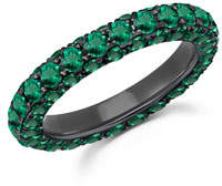Graziela Gems 18k White Gold Emerald 3-Sided Ring, Size 7
