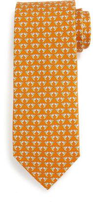 Salvatore Ferragamo Hummingbird-Print Silk Tie, Orange $190 thestylecure.com