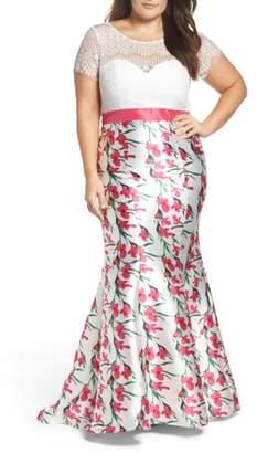 Mac Duggal Lace & Floral Mermaid Gown