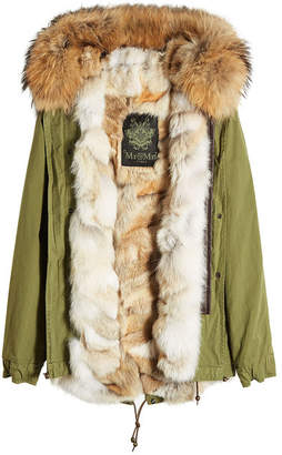 Mr & Mrs Italy Army Mini Cotton Parka with Raccoon and Coyote Fur