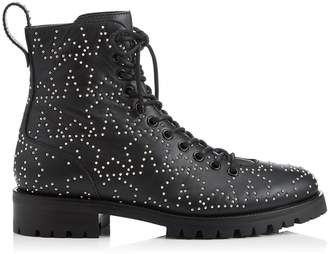 Jimmy Choo CRUZ FLAT Black and Silver Star Leather Combat Boot with Mini Studs