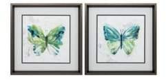 Ebern Designs 'Butterfly Sketch' 2 Piece Framed Graphic Art Print Set