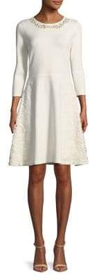 Eliza J Crocheted-Leaf A-Line Dress