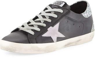 Golden Goose Superstar Leather & Glitter Low-Top Sneakers