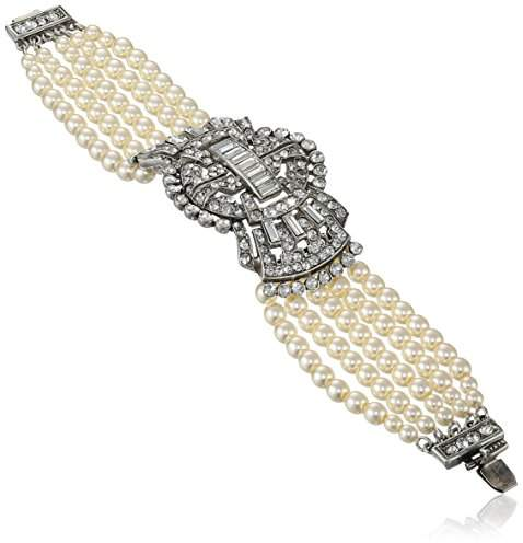 Swarovski Ben-Amun Jewelry Crystal and Synthetic Pearl Art Deco Bow Bracelet, 6.75""
