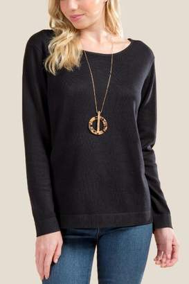 francesca's Natalie Bow Back Sweater - Black