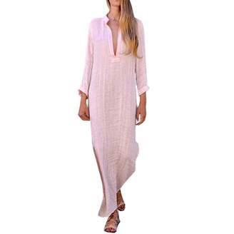 BOLUOYI Women's Clothing,Women Boho Baggy Loose Long Sleeve V-Neck Linen Kaftan Maxi Dress Beach Dresses