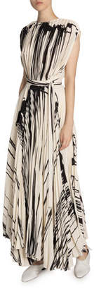 Proenza Schouler Two-Tone Pleated Wrap Dress