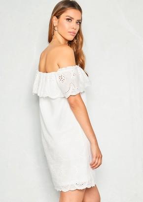 3b58e84cf0a Missy Empire Missyempire Paula White Crochet Frill Bardot Dress
