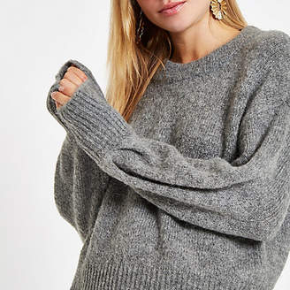 River Island Grey luxe crew neck knit sweater