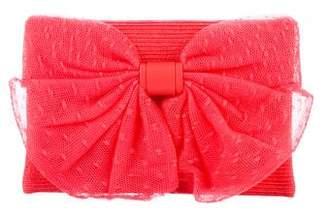 RED Valentino Bow-Accented Raffia Clutch