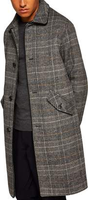 Topman Check Wool Overcoat