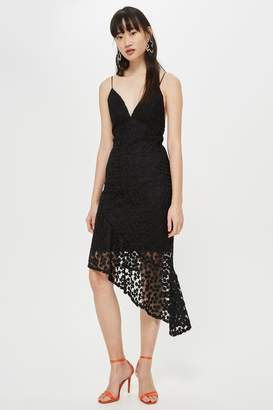 Topshop Lace Plunge Asymmetrical Slip Dress