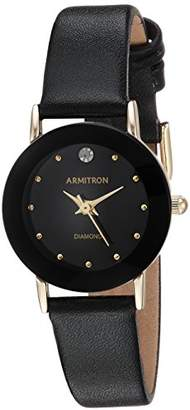 Armitron Women's 75/2447BLK Diamond-Accented Watch with Leather Band