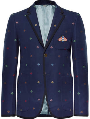 Gucci Navy Appliquéd Embroidered Cotton-Piqué Blazer