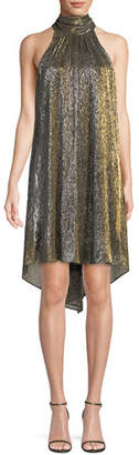 Halston Metallic Jersey High-Neck Dress