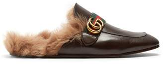Gucci Princetown Shearling Lined Leather Loafers - Mens - Brown Multi