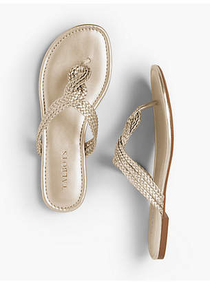 Talbots Cece Braided Thong Sandals - Faux Metallic Nappa