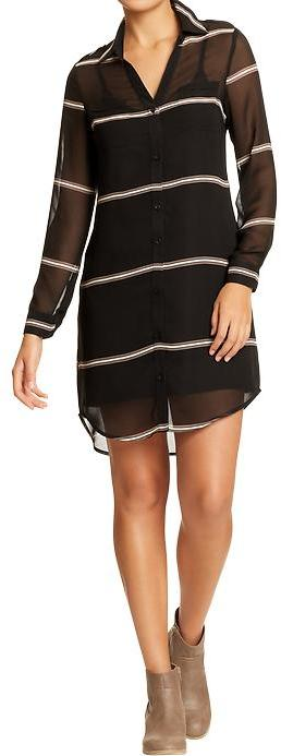 Old Navy Women's Striped-Chiffon Button-Front Dresses