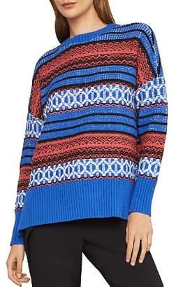 BCBGMAXAZRIA Striped High/Low Sweater