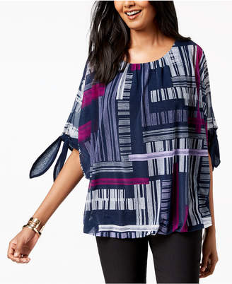 Alfani Tie-Sleeve Bubble Top, Created for Macy's