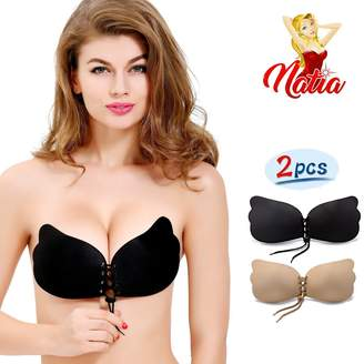 bd56d21cec7a6 NATIA Strapless Backless Push-up Silicone Drawstring Bra  New Version  (2pk