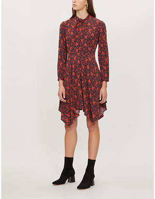 Claudie Pierlot Rabelia neck-tie floral-print crepe dress