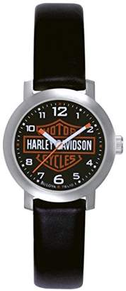 Harley-Davidson Women's Quartz Watch with Black Dial Analogue Display and Black Leather Strap 76L10
