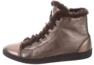 Salvatore Ferragamo Metallic High-Top Sneakers