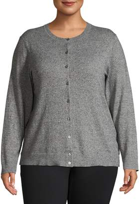 Karen Scott Plus Marled Knit Cotton-Blend Cardigan