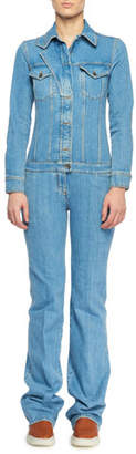 Stella McCartney Long-Sleeve Button-Front Denim Straight-Leg Jumpsuit