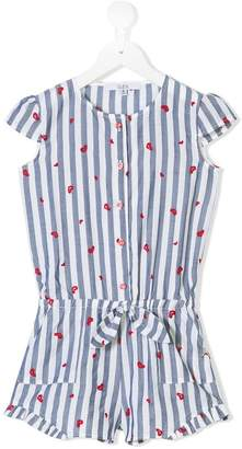 Patrizia Pepe Junior striped embroidered heart playsuit