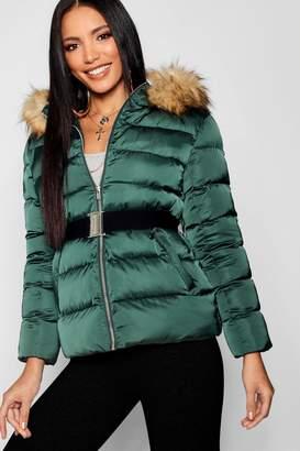 boohoo Matte Satin Belted Puffer Jacket