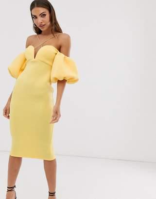Bardot Asos Design ASOS DESIGN bubble sleeve strappy midi dress