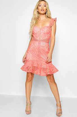 boohoo Lace Panelled Ruffle Hem Mini Dress