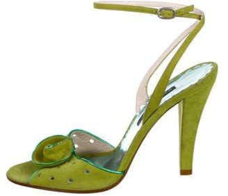 Marc Jacobs Suede Ankle Strap Sandals Chartreuse Suede Ankle Strap Sandals
