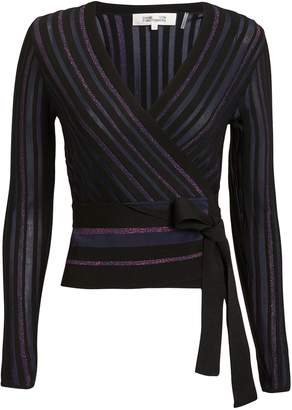 Diane von Furstenberg Lauren Metallic Stripe Wrap Knit Top