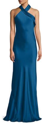Galvan Halter-Neck Sleeveless Silk Satin Evening Gown