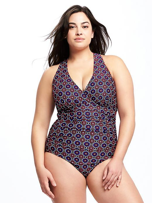 Old NavyPlus-Size Smooth & Slim Cross-Front Swimsuit