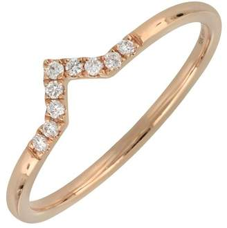 Bony Levy 18K Rose Gold Pave Diamond Geo Stacking Band Ring - 0.07 ctw