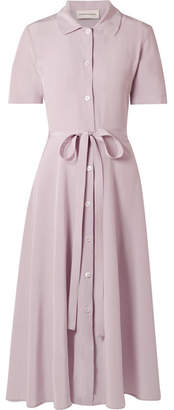 Mansur Gavriel Belted Silk Crepe De Chine Shirt Dress - Lilac