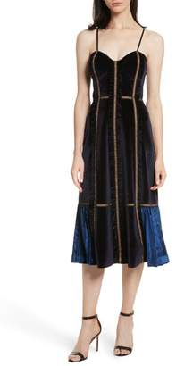 Self-Portrait Paneled Velvet Midi Dress